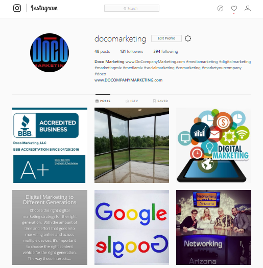 doco marketing instagram page social media